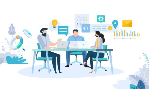 ilustraciones, imágenes clip art, dibujos animados e iconos de stock de concepto de ilustración de vector de flujo de trabajo, gestión del tiempo, planificación, aplicación de tarea, trabajo en equipo, reunión - calendario abstracto