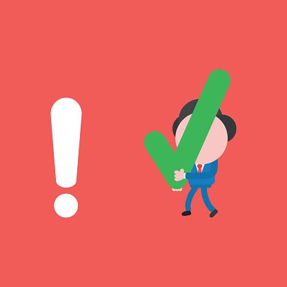 Vector illustration concept of businessman character walking and carrying check mark to exclamation mark. Red background.