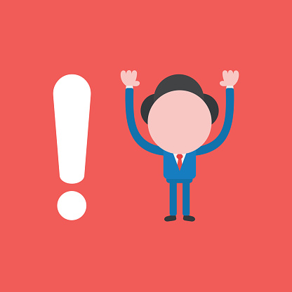 Vector illustration concept of businessman character with exclamation mark. Red background.