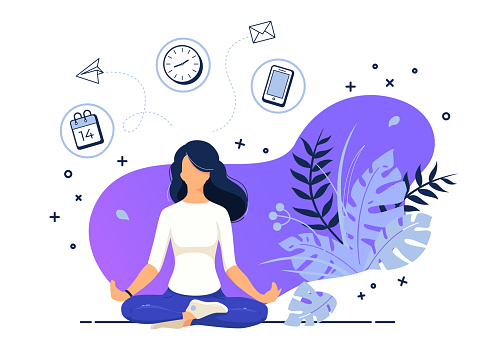 Vector illustration concept of businesswoman practicing meditation at office. The girl sits in the lotus position, the thought process, the inception, and the search for ideas. Practicing Yoga in work