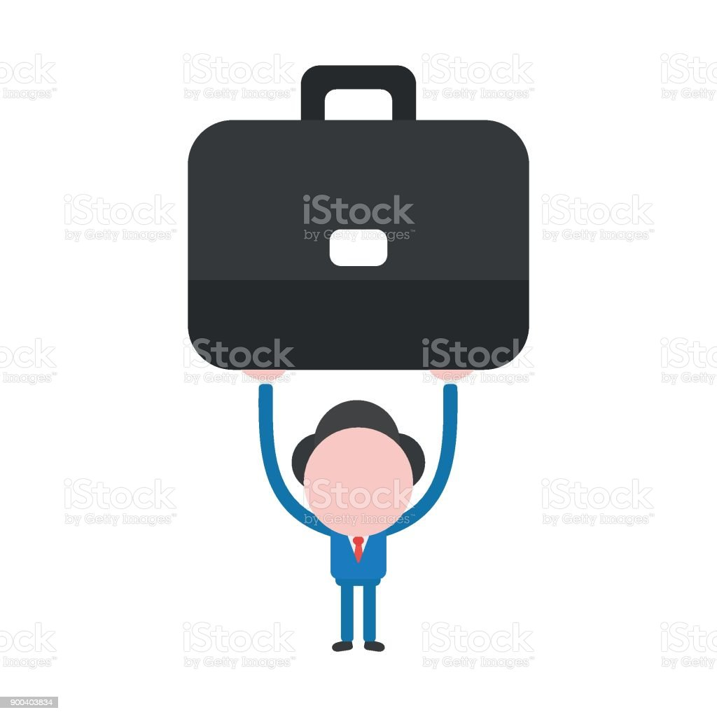 Vector illustration concept of faceless businessman character holding up briefcase vector art illustration