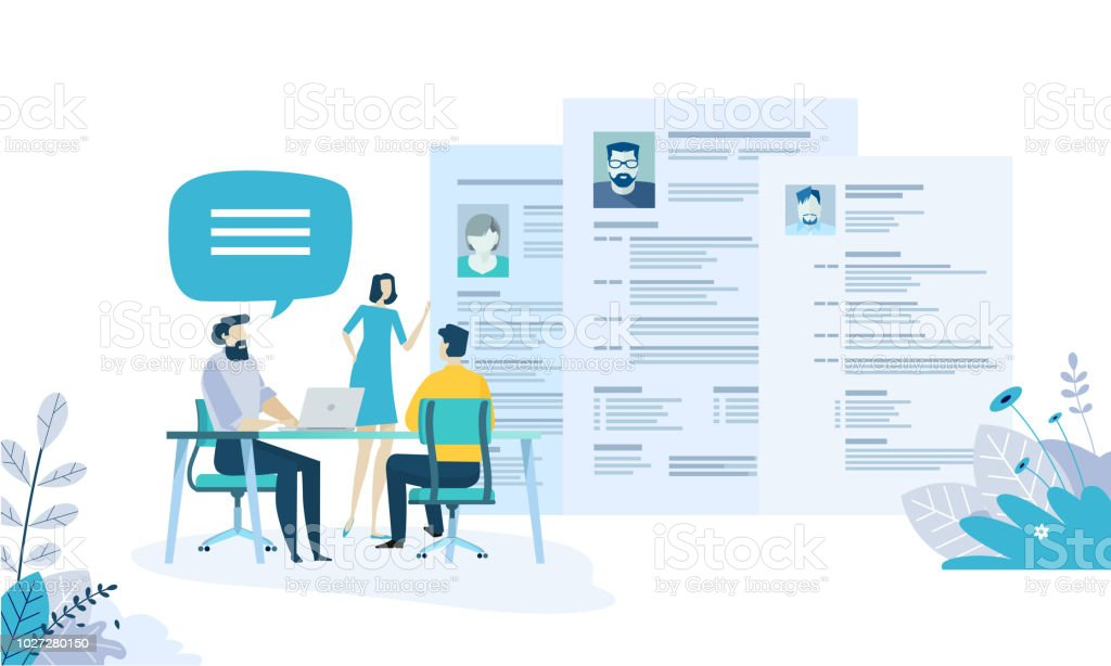 Vector illustration concept of human resources, career, employment, CV, job search, professional skill. royalty-free vector illustration concept of human resources career employment cv job search professional skill stock illustration - download image now