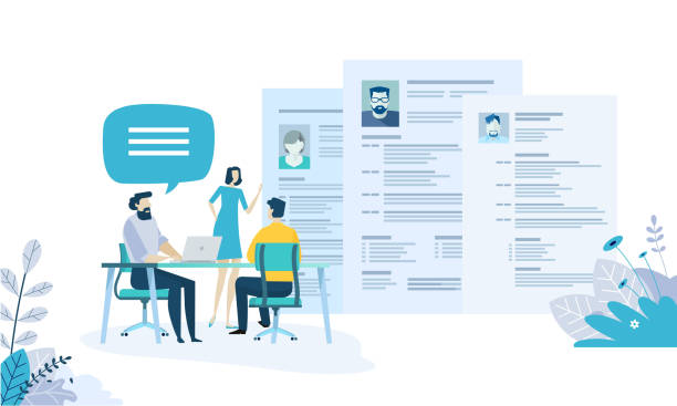 vector illustration concept of human resources, career, employment, cv, job search, professional skill. - unemployment stock illustrations