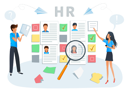 641422198 istock photo Vector illustration concept of human resources, hiring and recruitment. Business recruiting. Recruiters and managers searching for candidate CV to hire. Employment service, recruitment agency 1203962120