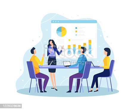 Employee at meeting discussing and presenting project. Secretary explain the presentation in front of the project team member. Vector in flat style
