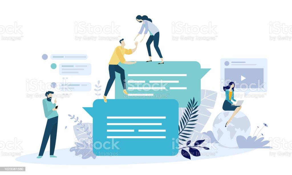 Vector Illustration Konzept der Online-Kommunikation, social-Media, Networking, Community-Gruppe – Vektorgrafik