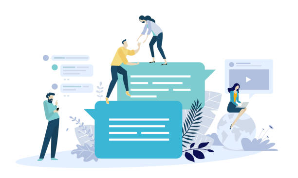 vector illustration concept of online communication, social media, networking, community group - group of people stock illustrations