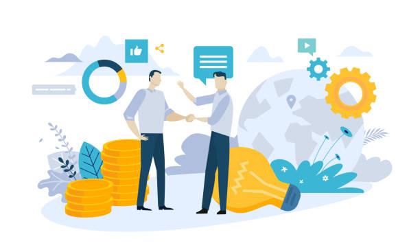 夥伴關係的向量圖解概念 - 合夥關係 幅插畫檔、美工圖案、卡通及圖標