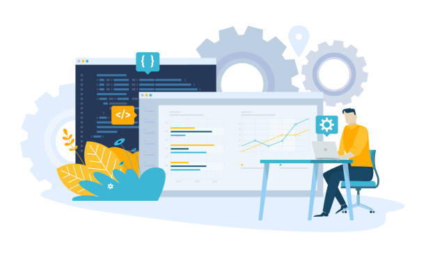 vector illustration concept of seo - algorithm stock illustrations