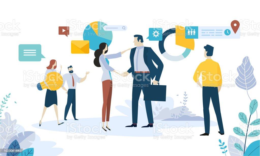 Vector Illustration Konzept von social Media, networking, Online-Kommunikation, Seo, Internet-Werbung, Marktforschung, Datenanalyse, Geschäftsstrategie, Beratung – Vektorgrafik