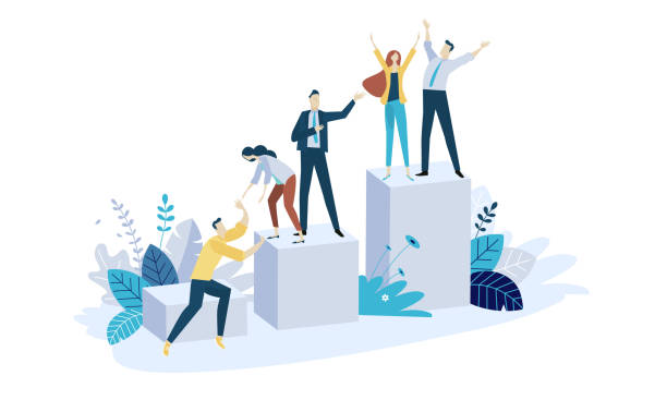 illustrazioni stock, clip art, cartoni animati e icone di tendenza di vector illustration concept of team building - crescita