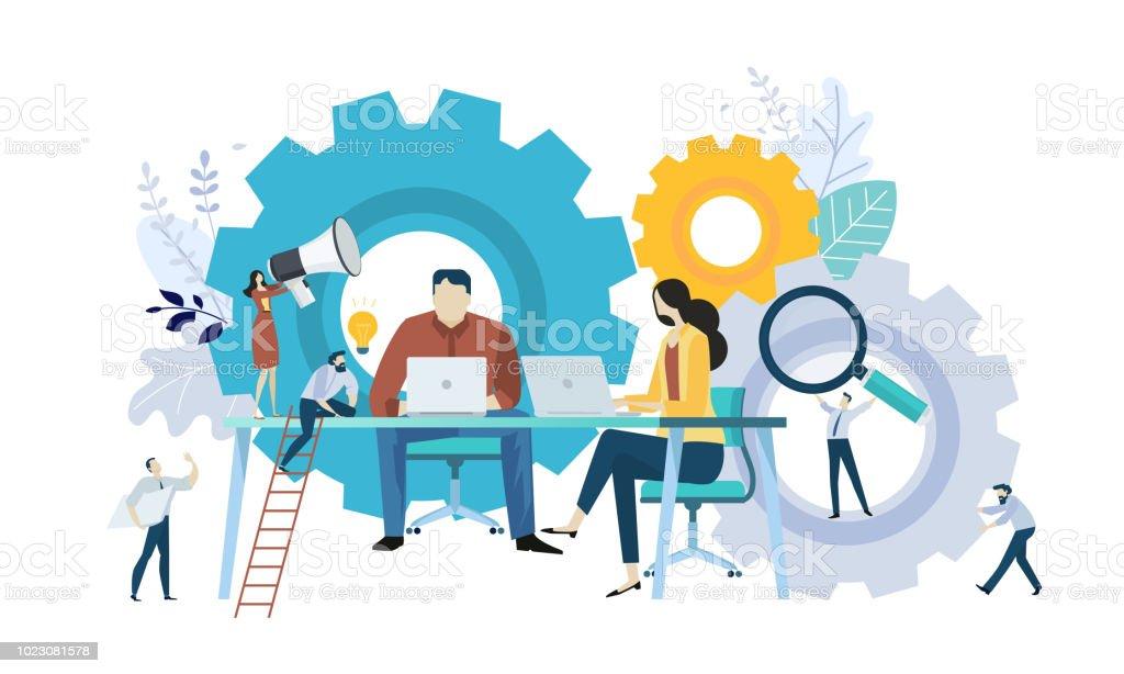 Vector Illustration Konzept der Teamarbeit, Projektmanagement, Workflow, Business-Mechanismus, Forschung und Entwicklung – Vektorgrafik