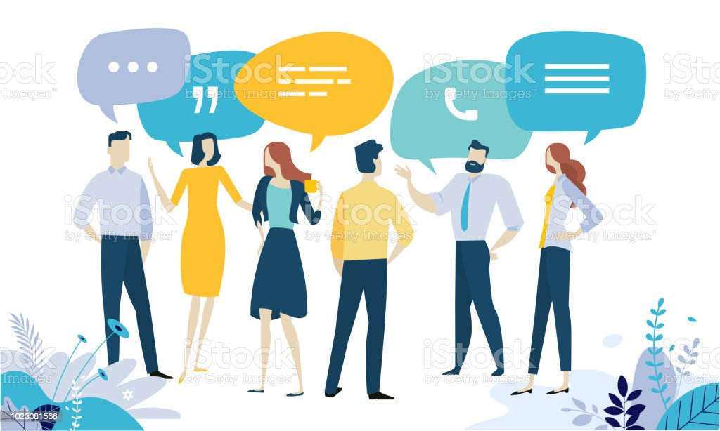 Vector Illustration Konzept der Testimonial, soziale Medien, networking, Business-Kommunikation, Forum, Produkttest – Vektorgrafik