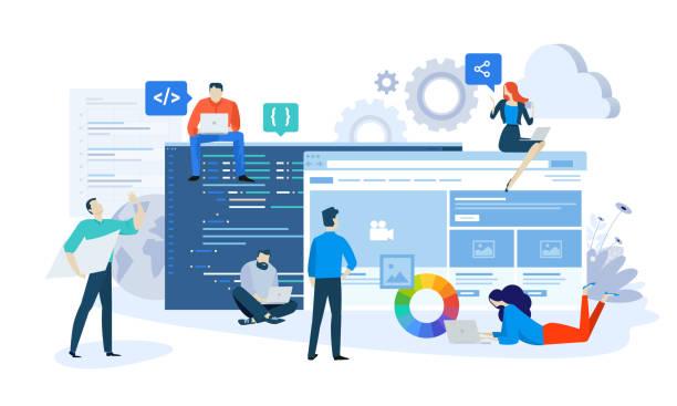 벡터 일러스트 레이 션 개념 웹 사이트 및 응용 프로그램 설계 및 개발 - 개발 stock illustrations