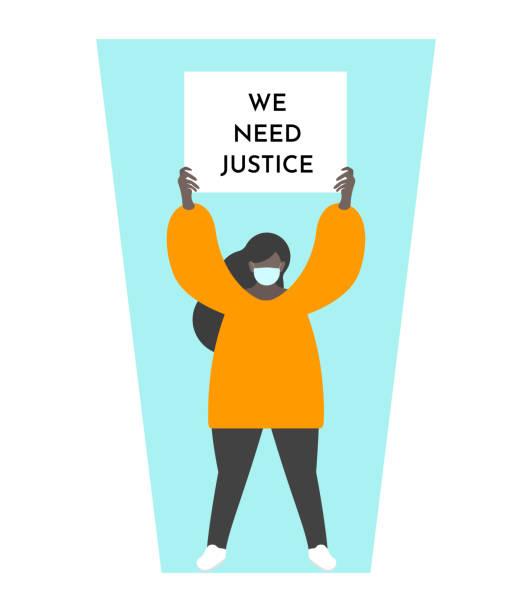 Vector illustration concept with dark skin girl holding broadsheet