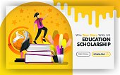 Vector illustration concept. Yellow banner website about educational scholarship. bachelor try to reach stars are surrounded by globe and stationery. suitable for print , online. Flat cartoon style. Can use for, landing page, template, ui, web, homepage, poster, banner, flyer. Flat cartoon style for web ads, marketing, promotion, sticker, wallpaper, card, background, UI/UX