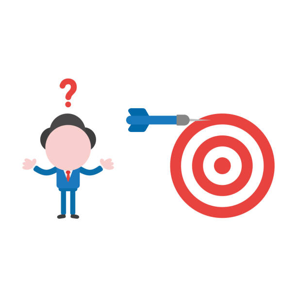 Vector illustration confused businessman with bulls eye and dart miss the target vector art illustration
