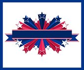 Vector illustration consisting in ribbon and 3d star with American flag colours. Perfect for any use.