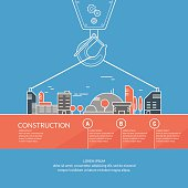 Vector illustration Construction with a crane and houses