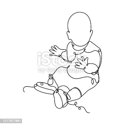 istock Vector illustration. Continuous line drawing clapping little baby sitting on the floor. Cute child one line sketch on white background. Concept for greeting card, banner, poster, flyer 1217817881
