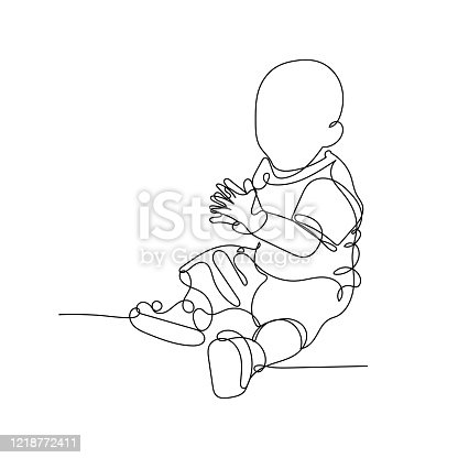 istock Vector illustration. Continuous line drawing clapping little baby sitting on the floor. Cute child one line sketch on white background. Concept for greeting card, banner, poster, flyer 1218772411