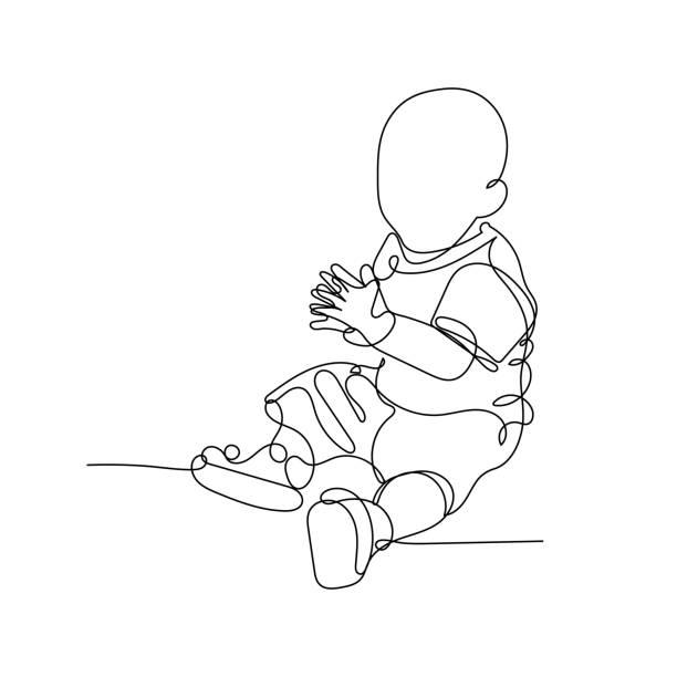 stockillustraties, clipart, cartoons en iconen met vectorillustratie. ononderbroken lijntekening die kleine babyzitting op de vloer klapt. leuk kind één lijnschets op witte achtergrond. concept voor wenskaart, banner, affiche, vlieger - alleen één jongensbaby