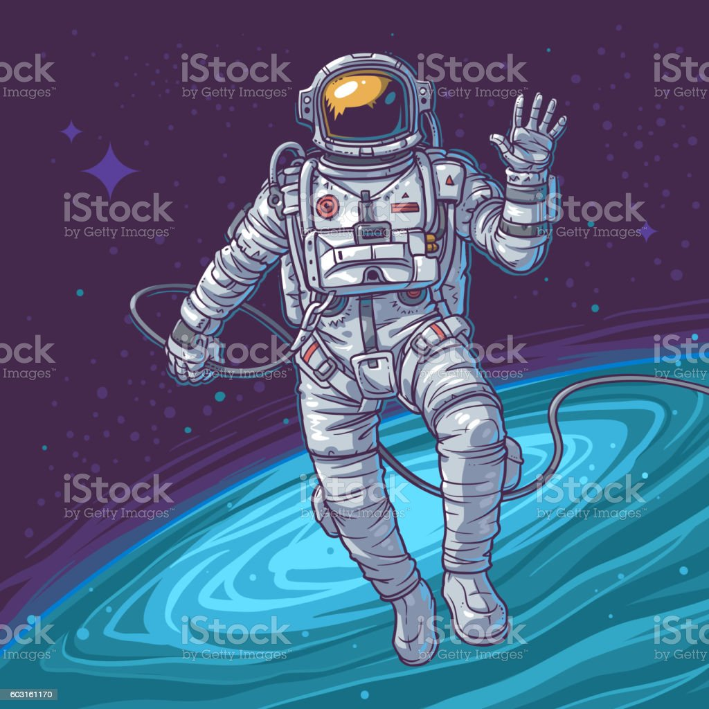 Vector illustration cosmonaut - illustrazione arte vettoriale