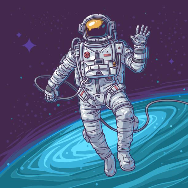 Vector illustration cosmonaut Vector illustration cosmonaut on the cosmic background. Astronaut waving hand astronaut floating in space stock illustrations