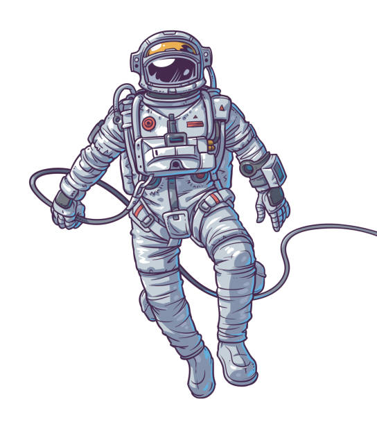 Vector illustration cosmonaut, Vector illustration cosmonaut, astronaut on a white background. Print for T-shirts astronaut floating in space stock illustrations