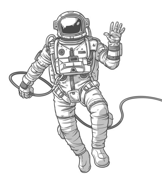 vector illustration cosmonaut, - astronaut stock-grafiken, -clipart, -cartoons und -symbole