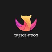 Vector Illustration Crescent Dog Gradient Colorful.