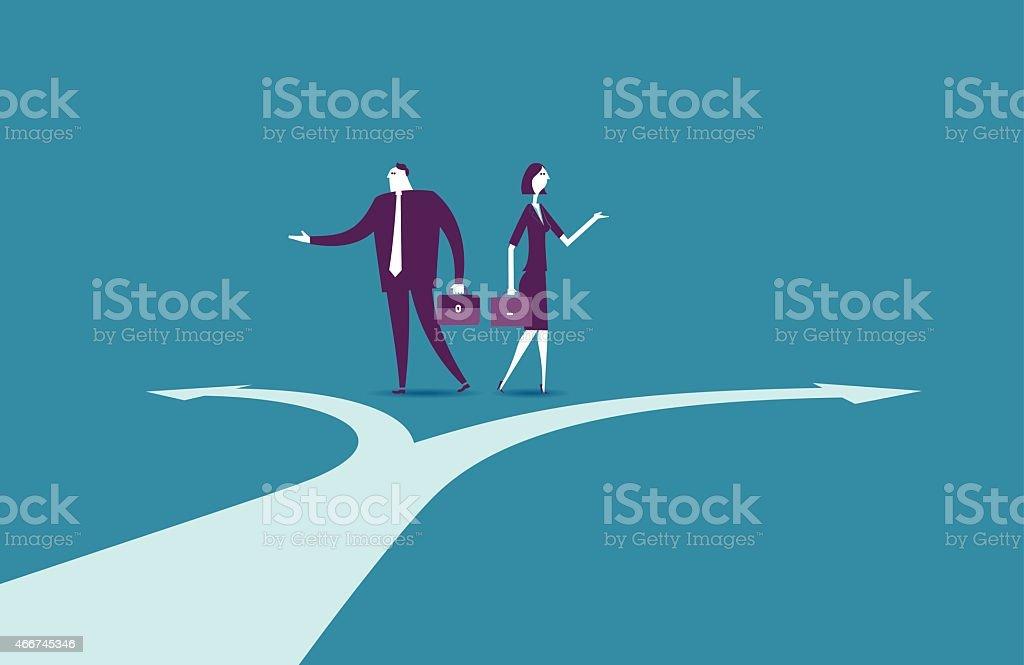 Vector illustration - Crossroads Path vector art illustration