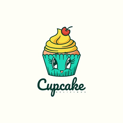Vector Illustration Cup Cake Simple Mascot Style.