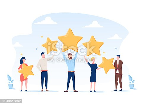Vector illustration, Customer reviews rating, Different people give a review rating and feedback, Support for business satisfaction. Customer choice. Know your client. Business satisfaction support