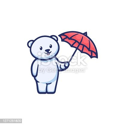istock Vector Illustration Cute Bear Simple Mascot Style. 1271251820