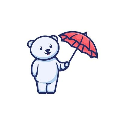 Vector Illustration Cute Bear Simple Mascot Style.