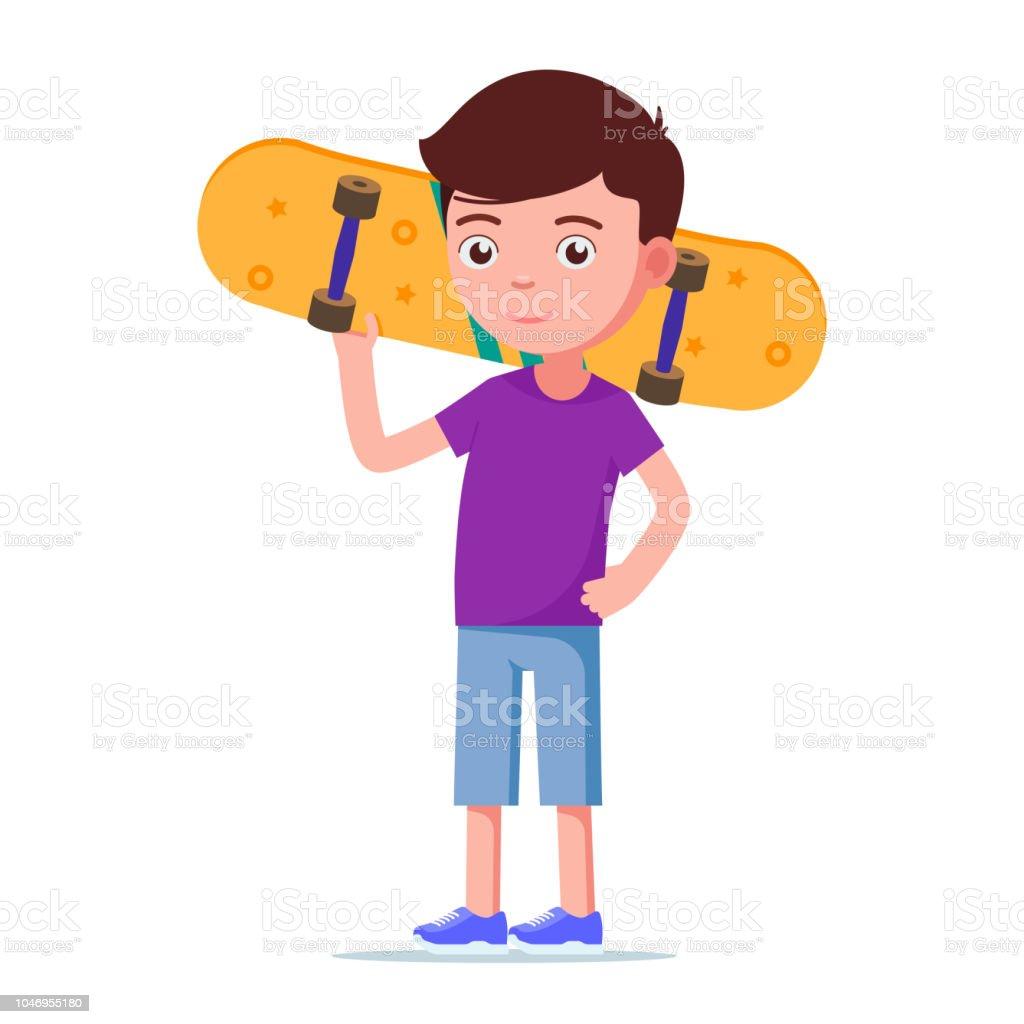 スケート ボードのベクトル イラストのかわいい男の子 1人のベクター