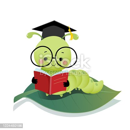istock Vector illustration cute cartoon caterpillar worm wearing graduation mortarboard hat and glasses reading a book on the leaf. 1224450156