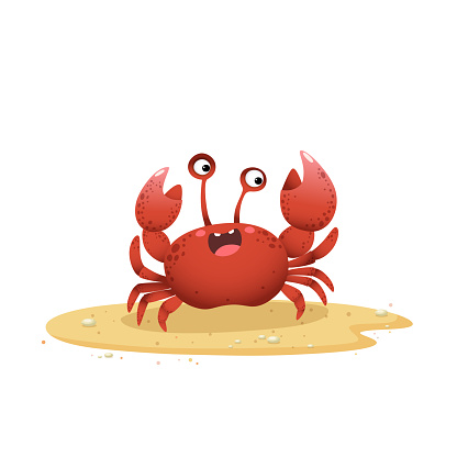 Vector illustration cute cartoon crab crawling on sand beach on white background.