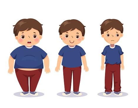 Vector illustration cute cartoon fat boy, average boy, and skinny boy. Boy with different weight.