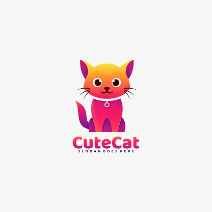 Vector Illustration Cute Cat Gradient Colorful Style.
