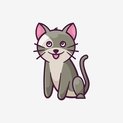 Vector Illustration Cute Cat Simple Mascot Style.