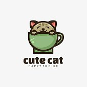 Vector Illustration Cute Cat Simple Mascot Style.