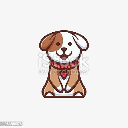 istock Vector Illustration Cute Dog Simple Mascot Style. 1265398578