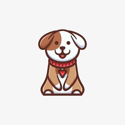 Vector Illustration Cute Dog Simple Mascot Style.
