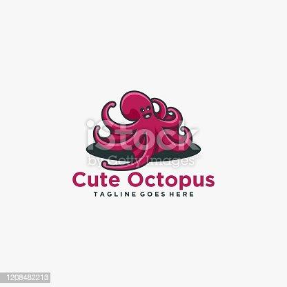 istock Vector Illustration Cute Octopus Simple Mascot Style. 1208482213