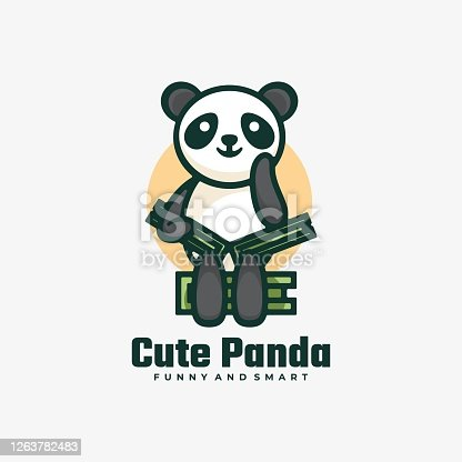istock Vector Illustration Cute Panda Simple Mascot Style. 1263782483
