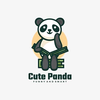 Vector Illustration Cute Panda Simple Mascot Style.