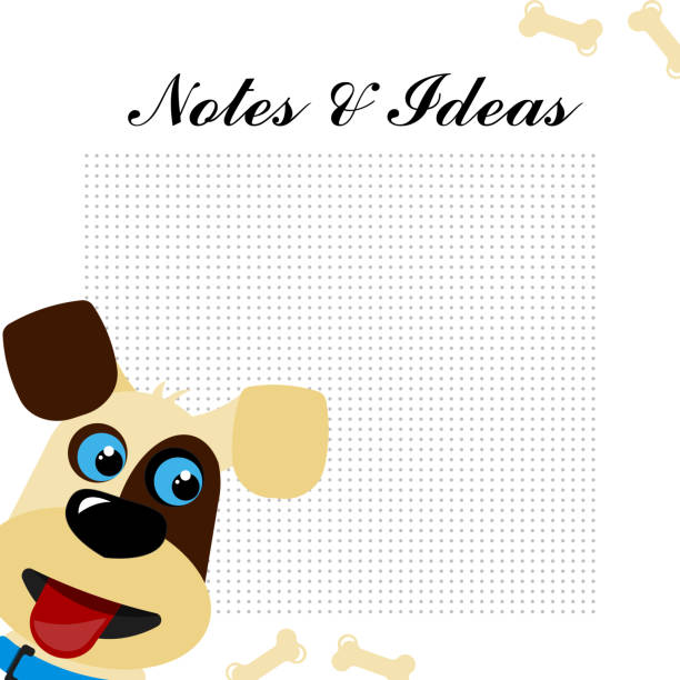vector illustration cute smiling dog notes and ideas place for note