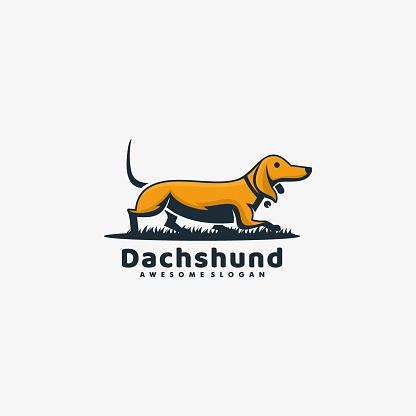 Vector Illustration Dachshund Mascot Cartoon Style.